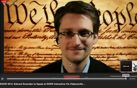 Edward Snowden appearing via video link at SXSW