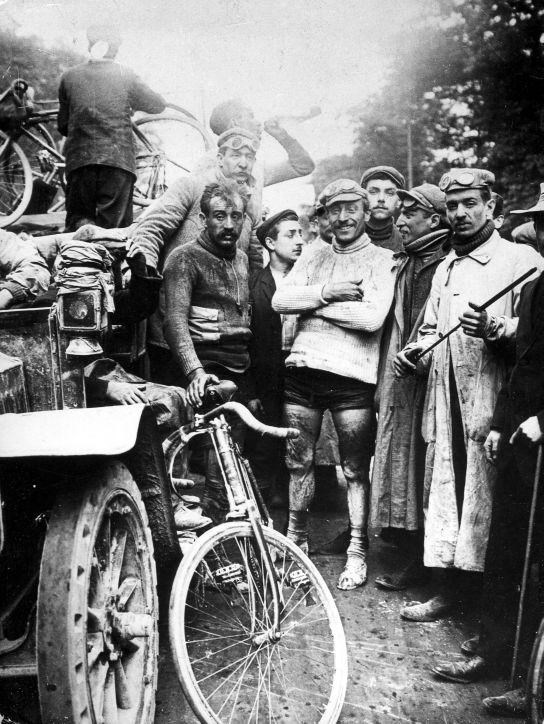 Maurice Garin, winner of the first Tour de France standing on the right, 1903