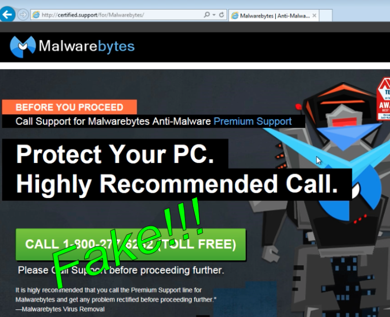 Malwarebytes front page...or is it?