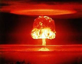 Nuclear weapon test Romeo (yield 11 Mt) on Bikini Atoll. (C) National Nuclear Security Administration