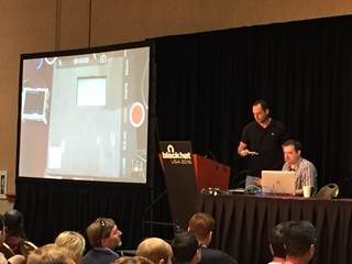 Nir Veltman and Patrick Watson of NCR Corporation demonstrate how to hack into a PIN pad-based POS transaction.